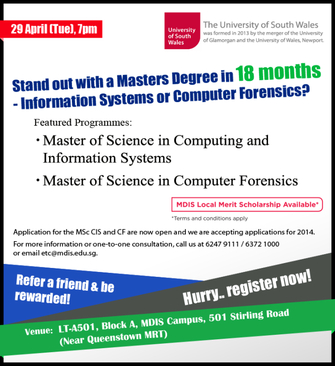 Preview Session on Masters Degree on 29th Apr 2014