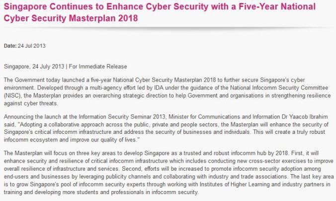 IDA National Cyber Security Masterplan 2018