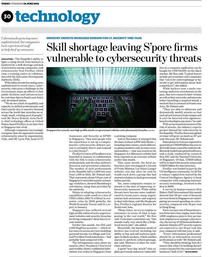 Skill shortage leaving S'pore firms vulnerable to cybersecurity threats