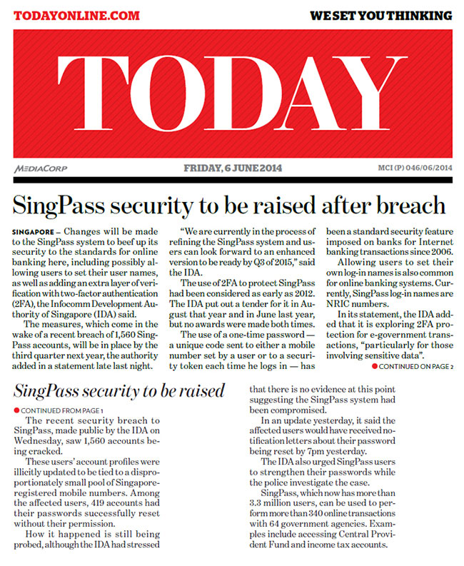 6 June 2014 SingPass security-to be raised after breach