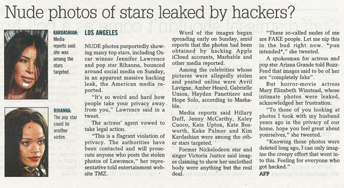 Nude Photos Of Stars Leaked By Hackers