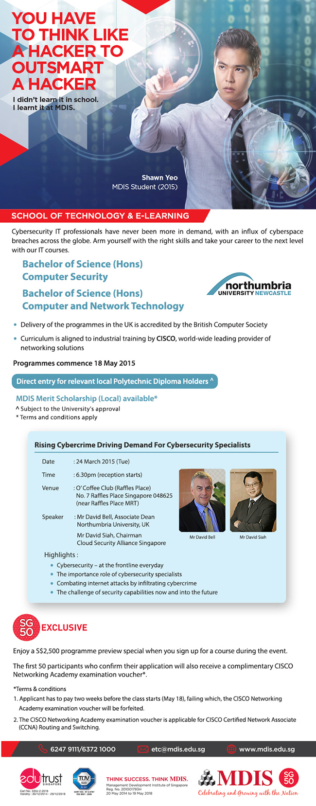 Preview Session on 24 Mar 2015 (Tue): Rising Cybercrime Driving Demand For Cybersecurity Specialists